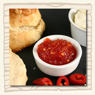 savoury cream tea - sourcream and chilli jam