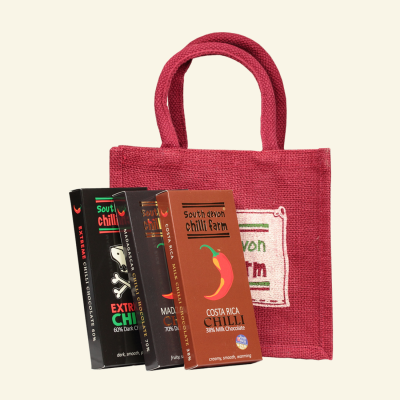 Three Chilli Chocolate and Jute Gift Bag