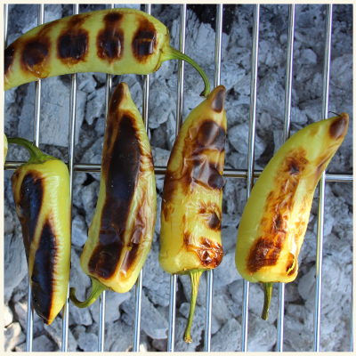 Hot Wax Chillies on BBQ