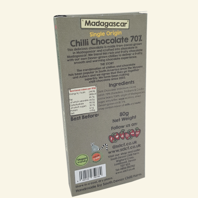 70% Madagascar Chilli Chocolate - Back of packet