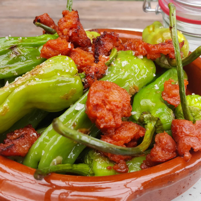 Chorizo Padron Pepper dish (served in the cafe)