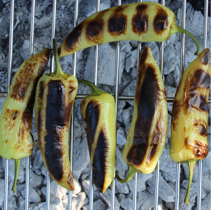 Hot Wax chillies on the BBQ